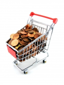 Image of shopping cart filled with pennies