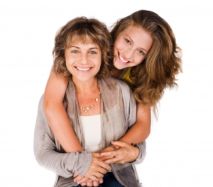 Image of middle-aged woman and daughter